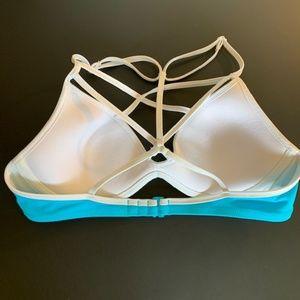Victoria's Secret Swim - VS PINK Cage Front Strappy blue Bikini Top Sz S/P